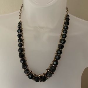 Black and gold beaded chain necklace